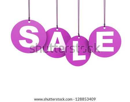 Shopping hang tags circular with sale word colored in pink. Isolated on white background. - stock photo