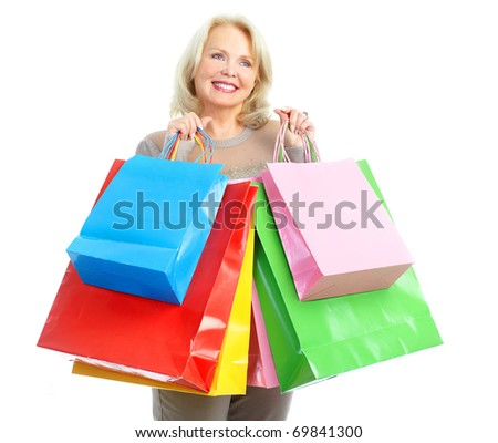 Shopping happy  elderly woman. Isolated over white background