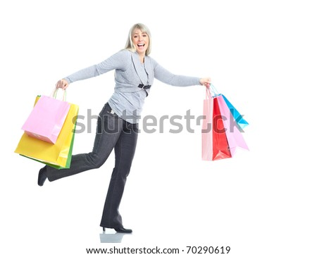 Shopping happy  running woman. Isolated over white background - stock photo