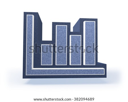 Shopping Icon in blueish denim look, isolated on white background, 3D rendering - stock photo