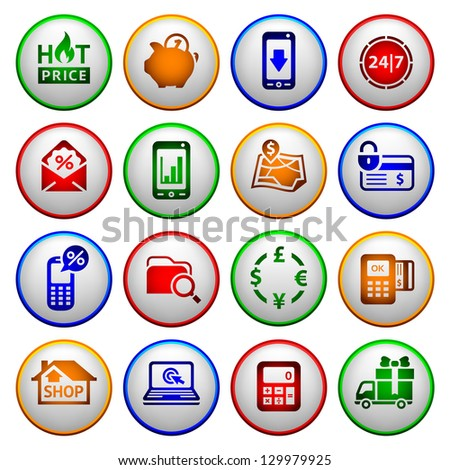 Shopping Icons. Colored round buttons. Vector copy also available - stock photo