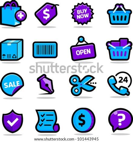 Shopping icons set - stock photo