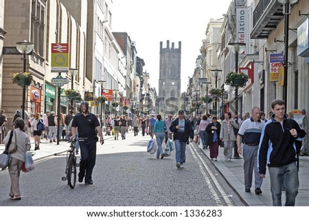 Shopping in Bold Street Liverpool UK - stock photo