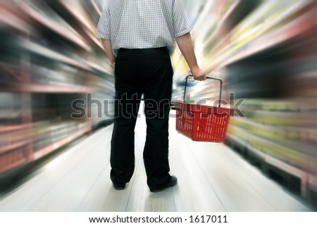 shopping in grocery store - stock photo