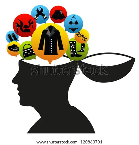 Shopping in Mind Concept Present by Open Head With The E-Commerce Icon For Women Fashion Isolate on White Background - stock photo