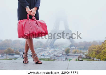 shopping in Paris, fashion woman near Eiffel Tower in France, Europe - stock photo