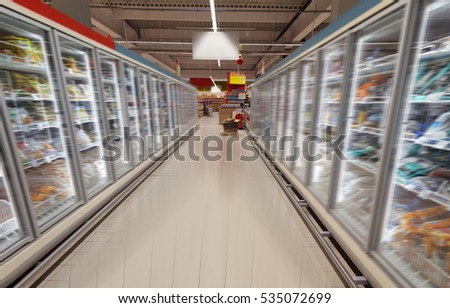 shopping in supermarket, wide view