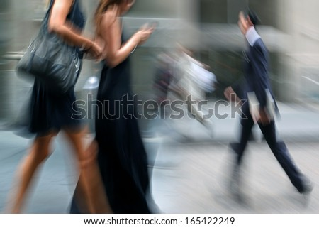 shopping in the city in motion blur