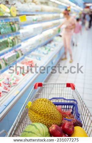 Shopping in the supermarket - stock photo