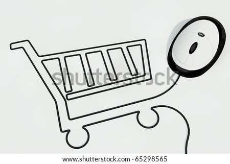 shopping kart in wire of computer mouse - stock photo