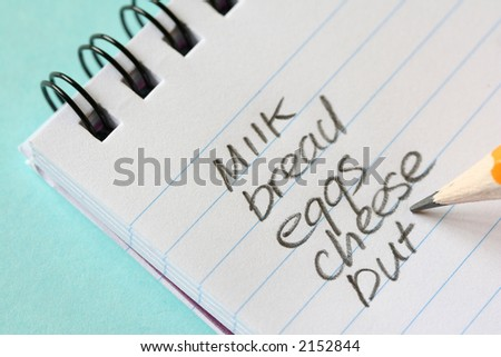 shopping list - stock photo