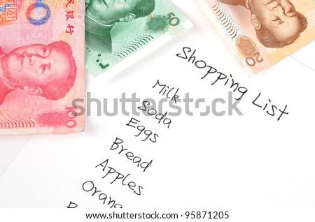 Shopping list - stock photo