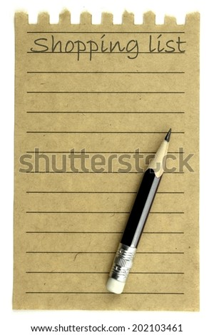 Shopping list and pencil on natural paper isolated on  white background - stock photo