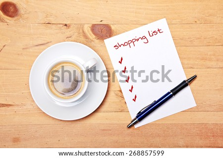 shopping list checklist - coffee - office - at work - stock photo