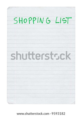 shopping list isolated on pure white background - stock photo