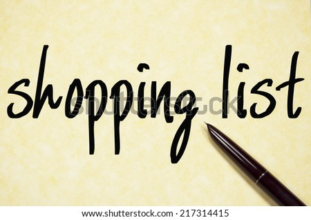shopping list text write on paper  - stock photo