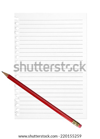 Shopping list, to do list, resolutions list..... Lined sheet of paper, red pencil. Isolated. - stock photo
