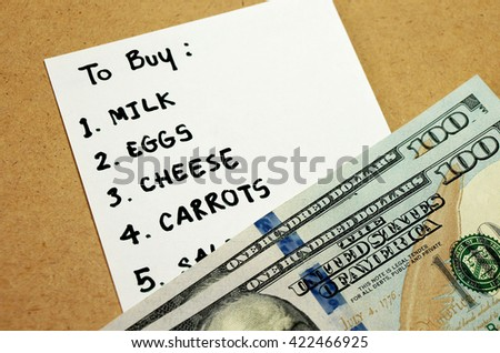 Shopping list written on paper for buying groceries on budget 200 dollars - stock photo