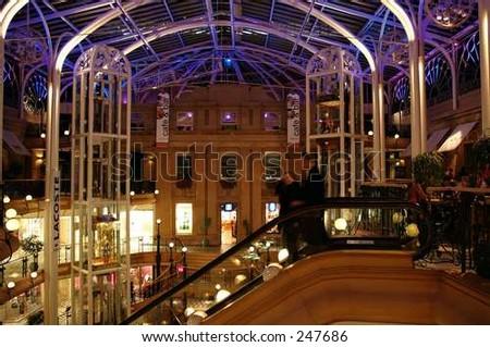 shopping mall at night - stock photo
