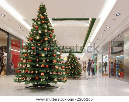 Shopping Mall Interior Decorated Christmas Trees Stock Photo ...