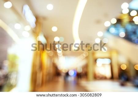 Shopping Mall Sale Blurred Background. Bokeh Soft Effect Photo - stock photo