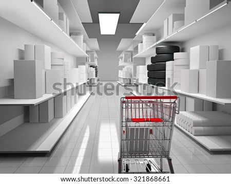 Shopping mall with products on shelves and shopping cart. 3D generated image. - stock photo
