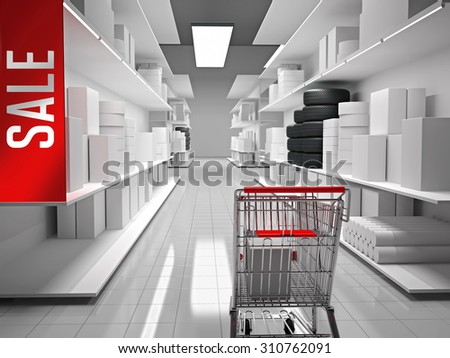 Shopping mall with products on shelves and shopping cart in front - stock photo