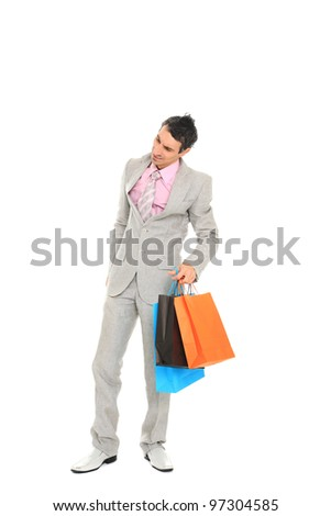 shopping man. Isolated over white background