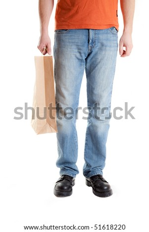 shopping man on white background
