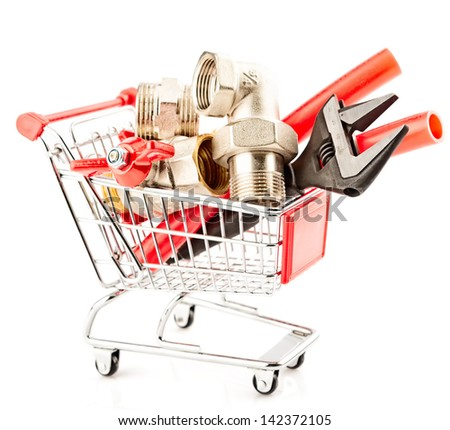 Shopping of tools and heating system parts . - stock photo