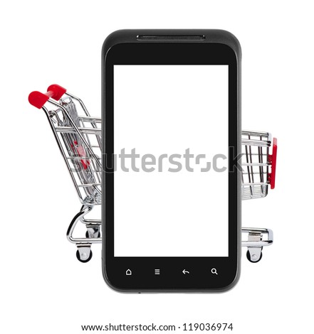 Shopping on mobile phone. isolated on white.