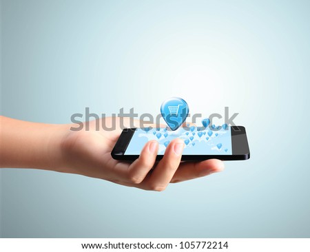 Shopping on Modern mobile phone in hand