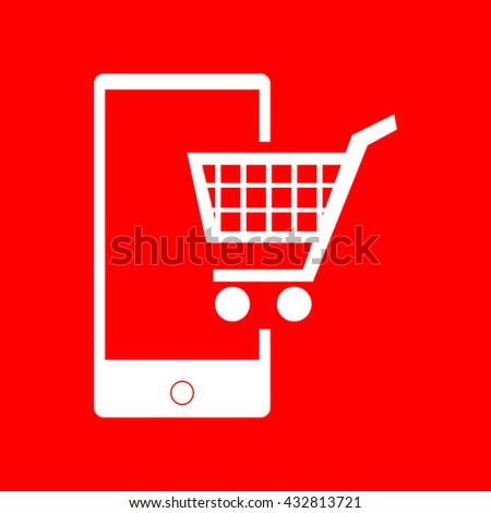 Shopping on smart phone sign - stock photo
