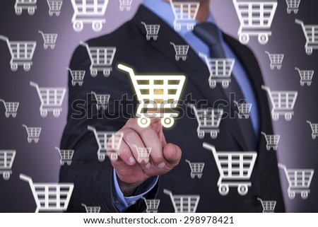Shopping on Touch Screen - stock photo