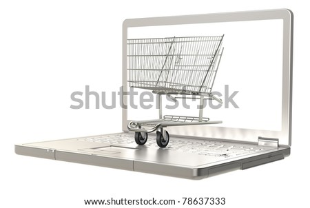 Shopping. Online. A shopping trolley and a laptop. Isolated on white. - stock photo