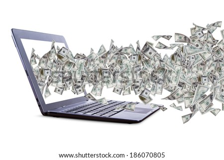 Shopping or gamble concept, one hundred dollar banknotes flying and streaming on laptop or internet, isolated on white background. - stock photo