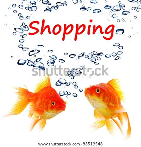 shopping or shop concept with word and goldfish