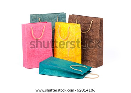 shopping package isolated on a white - stock photo