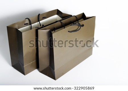 shopping paper bag isolated on white background.