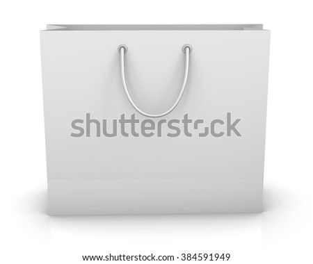 shopping paper bag isolated on white background, illustration.