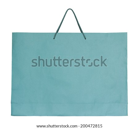 shopping paper bag isolated on white with clipping path - stock photo