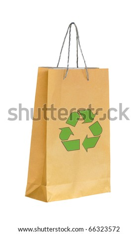 Shopping paper bag made from recycle paper with recycle symbol - stock photo