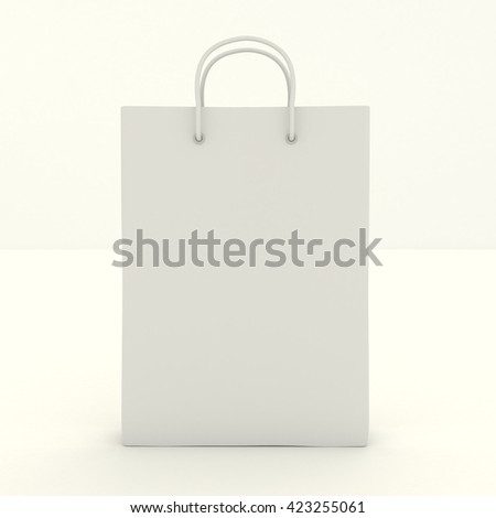 Shopping paper bag template with clean blank. Single empty cardboard package with rope handles mock up isolated on white background. Packing for shopping, gifts, products in the store. 3d illustration - stock photo