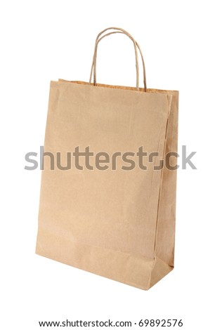 Shopping paper bag with clipping path - stock photo