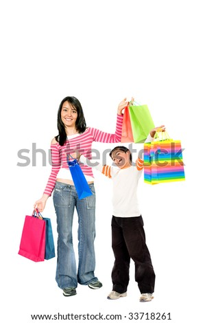 Shopping people isolated over a white background - stock photo