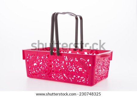 Shopping plastic basket isolated on white background
