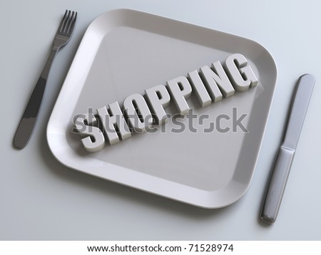 shopping plate, knife and fork - stock photo