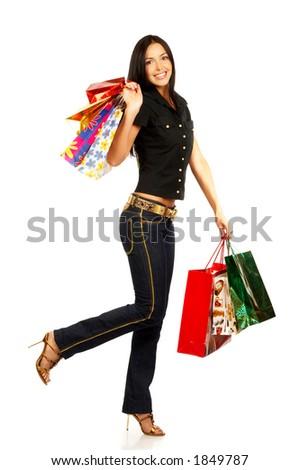 Shopping pretty woman - stock photo