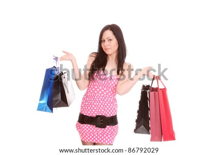 Shopping pretty woman isolated over white background