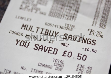 Shopping receipt - stock photo